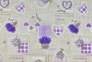 deabf3424167 Látka bavlna levanduľa s fialovými srdiečkami empty