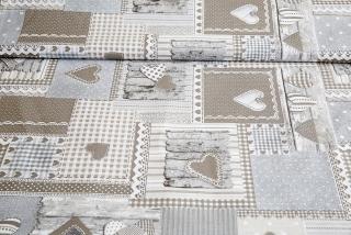 f6e6b5f62d80 Látka bavlna béžový patchwork so srdiečkami empty