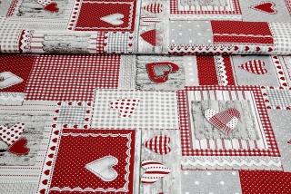 bcbf6915bb31 Látka bavlna červený patchwork so srdiečkami empty